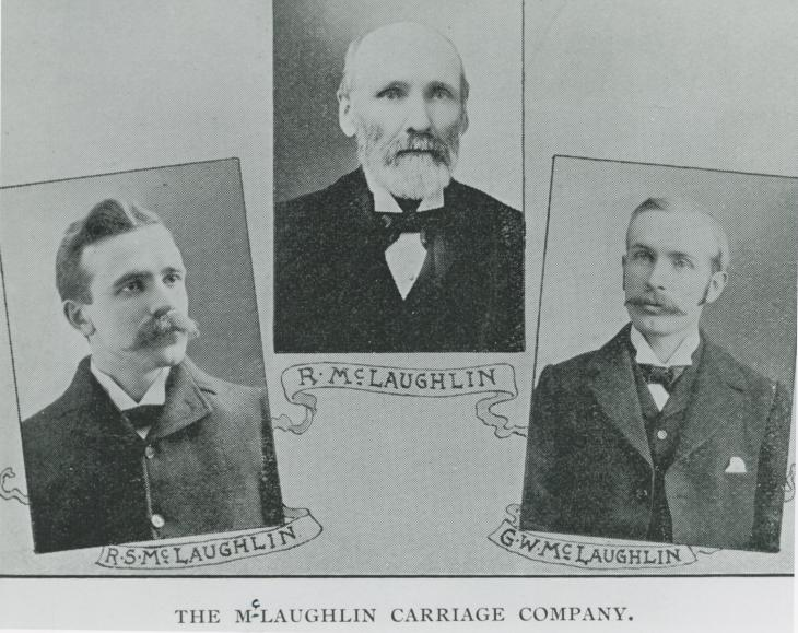 Composite photo of Robert McLaughlin and his two sons, Robert Samuel and George W, both of who played significant role in bringing the carriage business into the automotive business. 1898