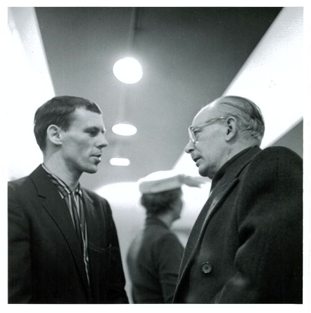 Tom Hodgson (left), Jock Macdonald (right)  Park Gallery opening  1958 Photo credit: The new studio photography