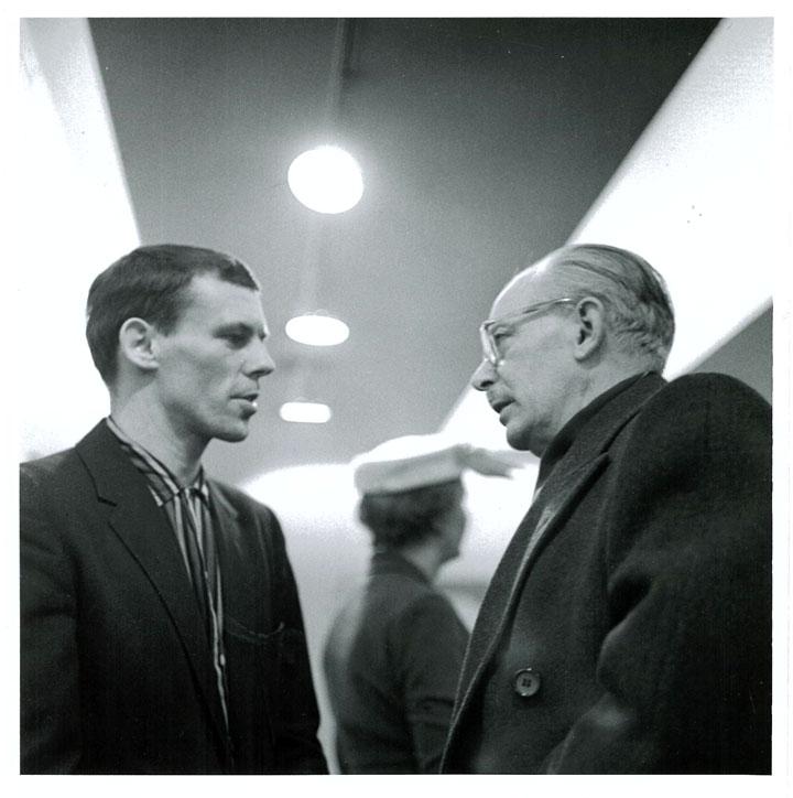Tom Hodgson (left), Jock Macdonald (right)  Park Gallery opening  1958 Photo credit: The new studio photography