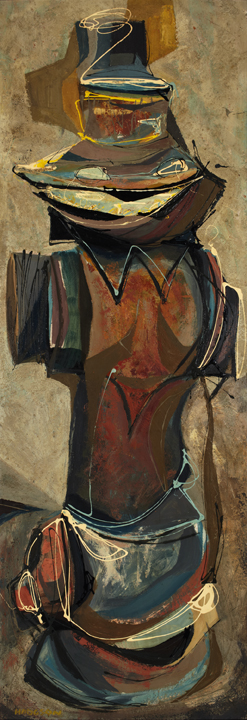 Tom Hodgson, Yellow Hydrant, 1953; oil, sand and acrylic ? on masonite; Gift of Martin Vagners, 1989