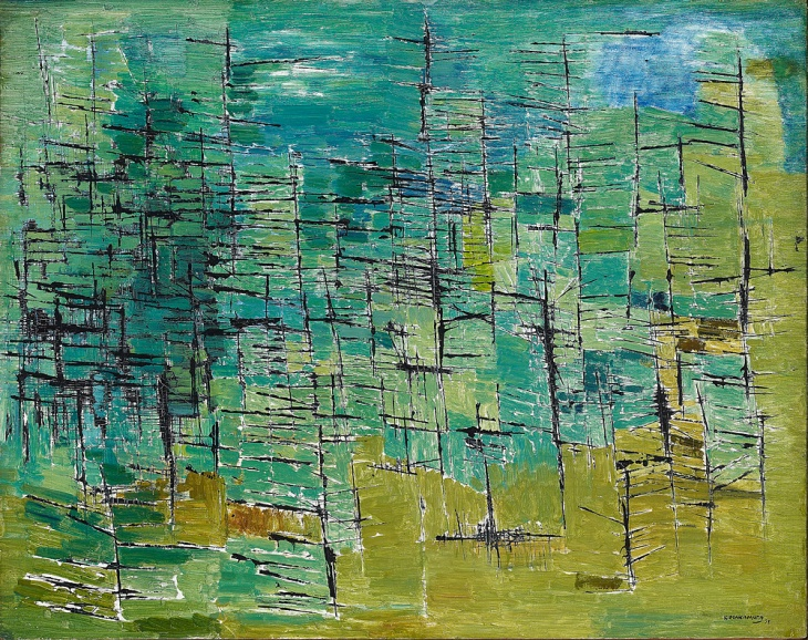 Kazuo Nakamura, Forest; 1953; oil on masonite; Gift of Charles E. McFaddin, 1974