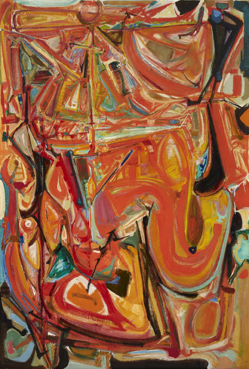 Harold Town; Tumult for a King; 1953- 54; oil and Lucite 44 on masonite; Gift of the artist's estate, 1994
