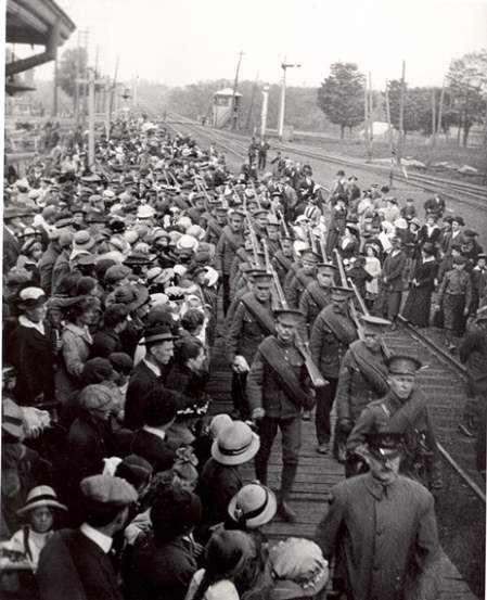 Soldiers at Grand Trunk Railway Station, 1915  The Thomas Bouckley Collection, The Robert McLaughlin Gallery, Oshawa