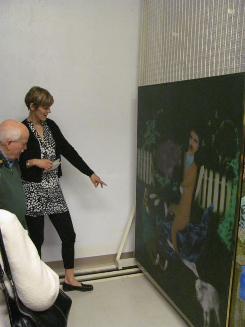 Louis de Niverville and Senior Curator Linda Jansma examine Sunset Farm #3