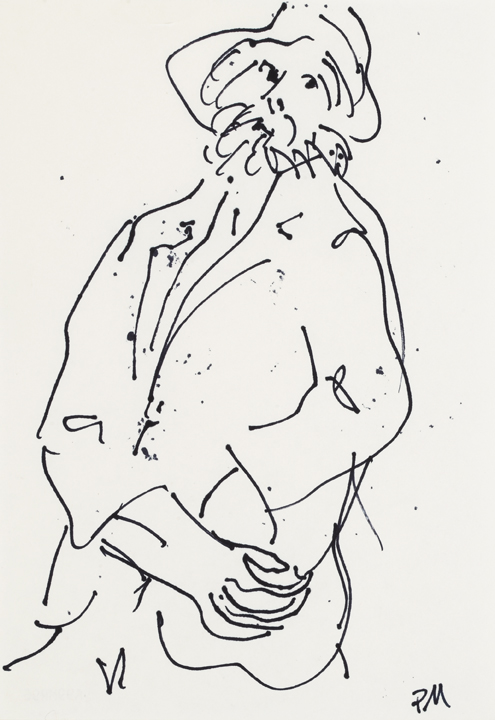 Ray Mead (Canadian, b. England, 1921-1998); Untitled (figure with hat); n.d.; felt pen on paper; Gift of the Estate of Ray Mead, 1999