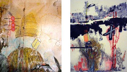 Conversations #1 & 2, Ramune Luminaire & Judith A. Mason, mixed media on paper