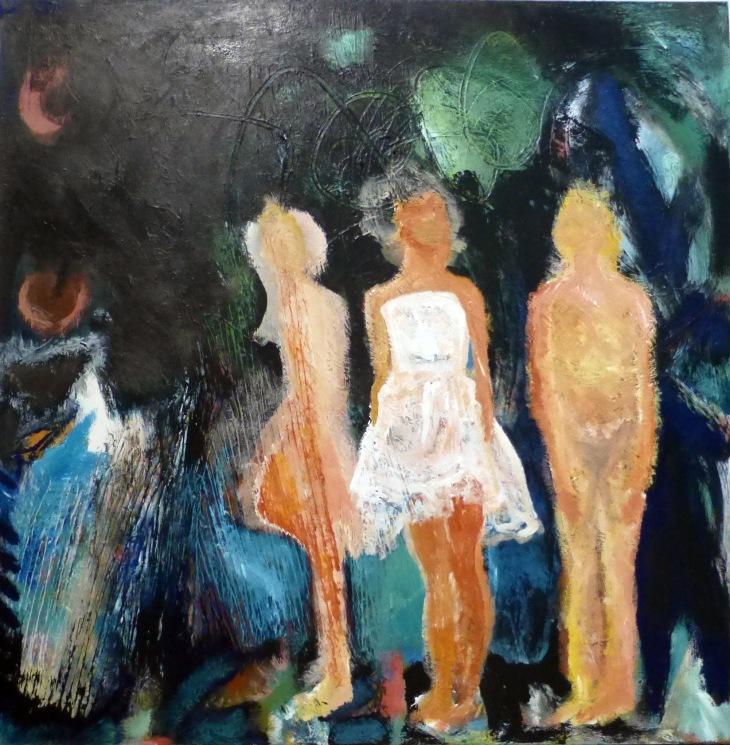 Judith Mason, Three Dancers, acrylic